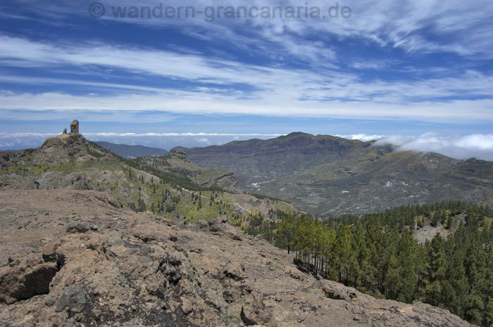 Look of the center of the island with the Roque Nublo, Tejeda on a walking trail